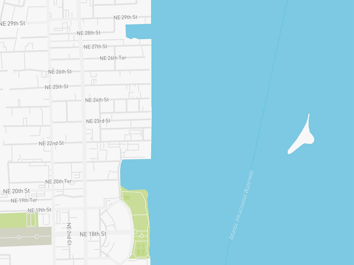 Map illustration of Edgewater Miami, Florida.