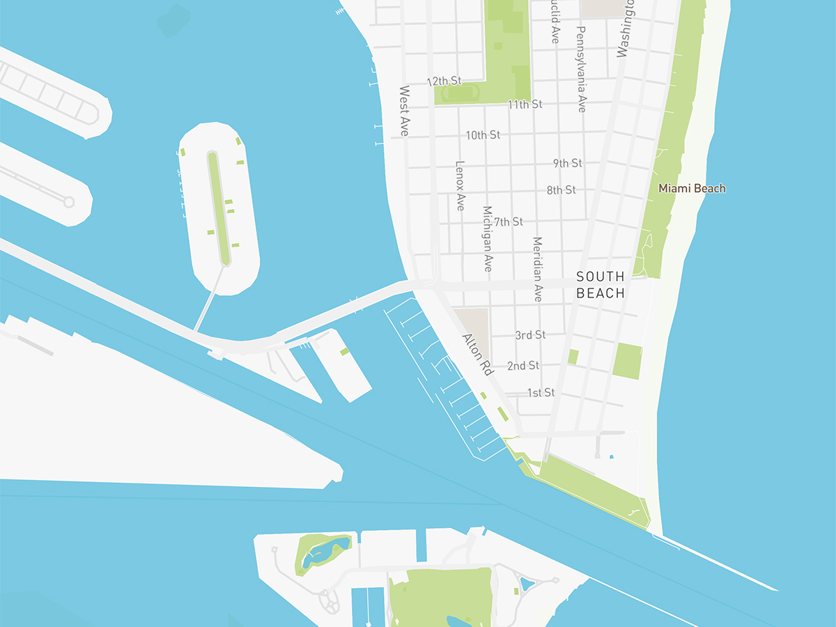 Map illustration of South Beach, Florida.