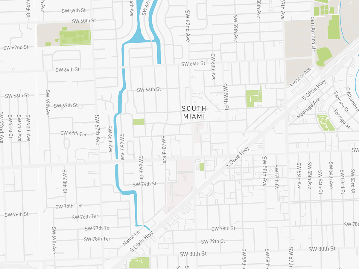 Map illustration of South Miami, Florida.