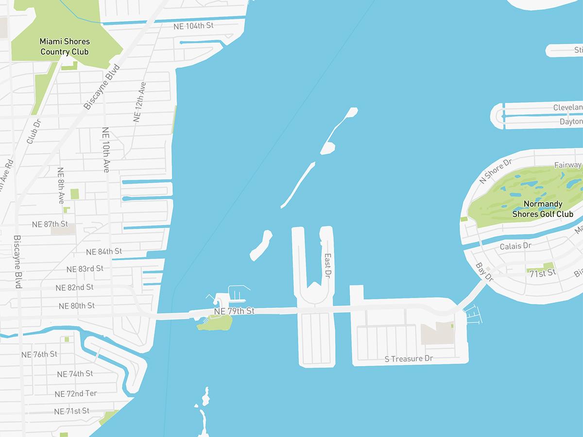 Map illustration of Upper East Side Miami, Florida.